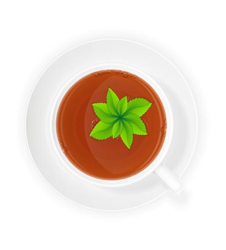 porslin kopp te med mint vektor illustration