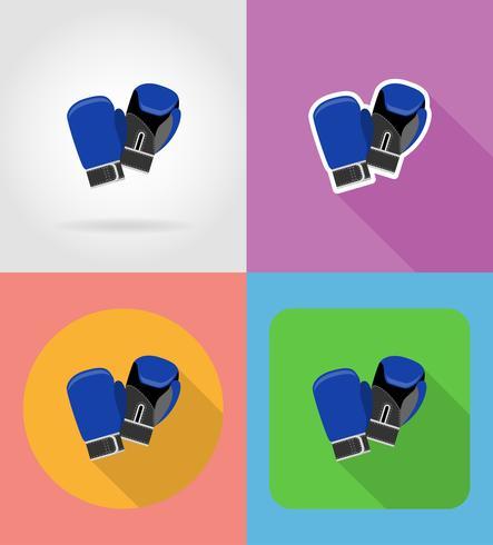 Guantes de boxeo iconos planos vector illustration