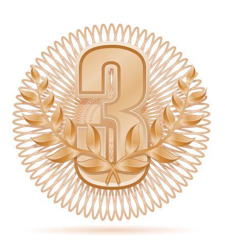 laureate wreath winner sport bronze stock vector illustration