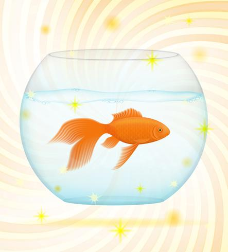 pesce d'oro in un'illustrazione vettoriale di acquario trasparente