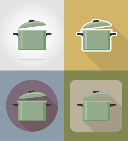 saucepan objects and equipment for the food vector illustration