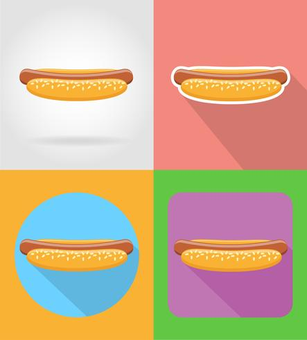 hot-dog fast food flat icons with the shadow vector illustration