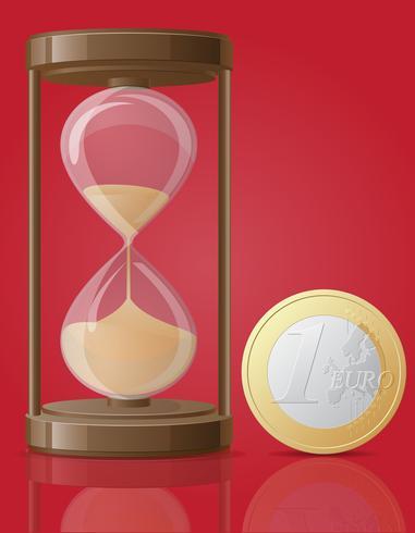 antiguo reloj de arena retro y una moneda euro vector illustration