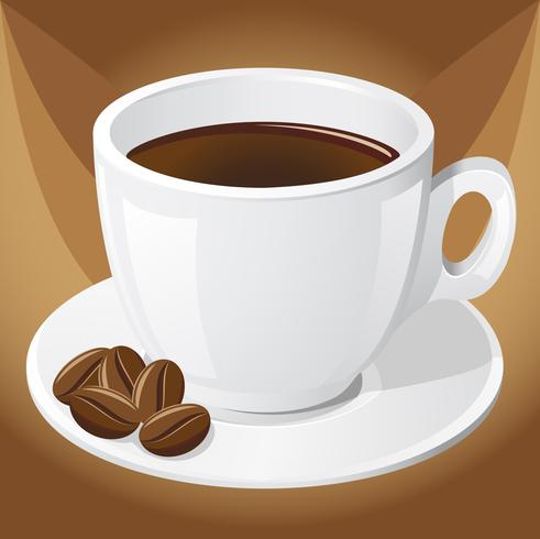 cup of coffee and grains vector