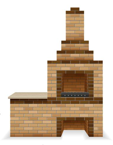 barbecue oven built of bricks vector illustration