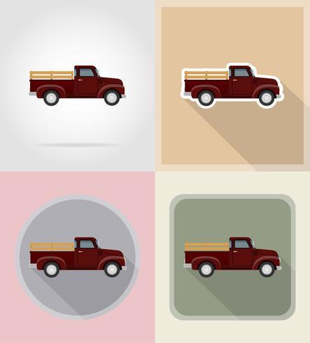 retro velho carro coletor plana ícones vetoriais ilustração isolado