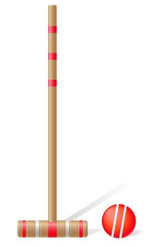 maglio di croquet e illustrazione vettoriale palla