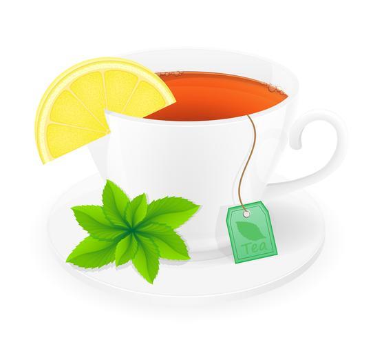 porseleinen kopje thee met citroen en mint vectorillustratie