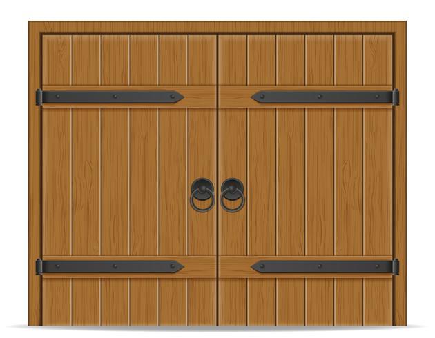 ancienne illustration vectorielle de porte en bois