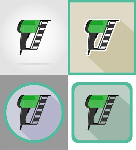 ferramentas de nailer elétrico para construção e reparação de ícones plana ilustração vetorial