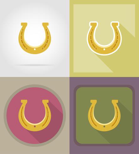 hästsko för lycka till platta ikoner vektor illustration