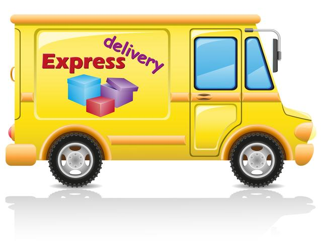 Auto entrega urgente de correo y paquetes de ilustración vectorial