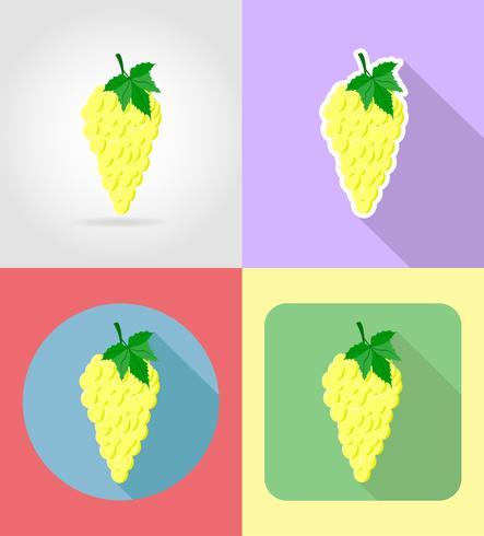 l'uva fruttifica le icone stabilite del piano con l'illustrazione di vettore dell'ombra