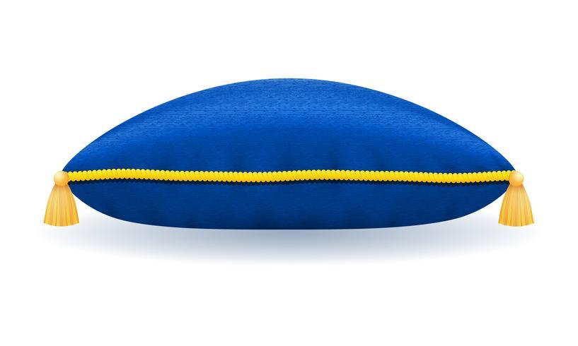 Almohada de terciopelo azul con cuerda de oro y borlas ilustración vectorial