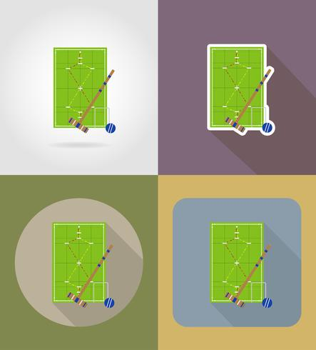 aire de jeux pour les icônes plat de croquet vector illustration