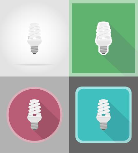 Ikonen-Vektorillustration der Glühlampe flache