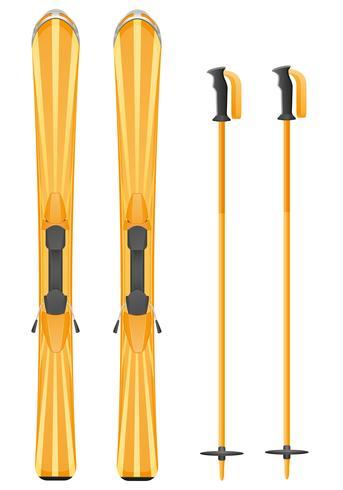 orange skis mountain vector illustration