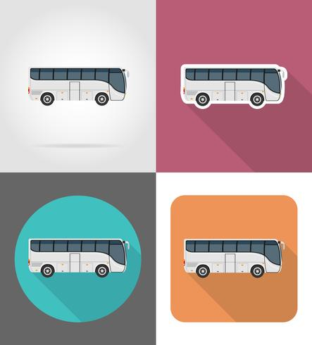big tour bus flat icons vector illustration