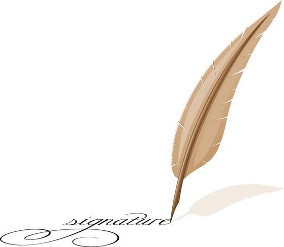 plume et signature vecteur