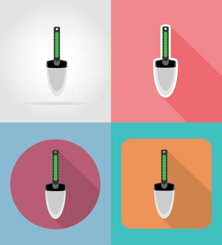 garden small shovel flat icons vector illustration