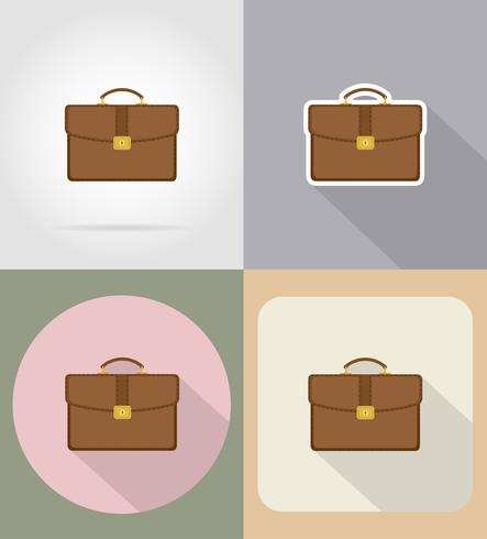 leather briefcase flat icons vector illustration