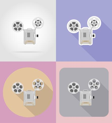 old retro vintage projector flat icons vector illustration