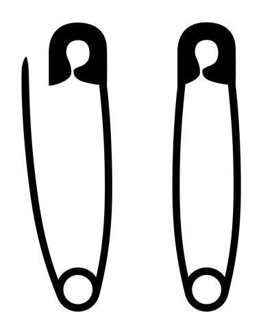 pin de seguridad stock silueta negra ilustración vectorial de contorno