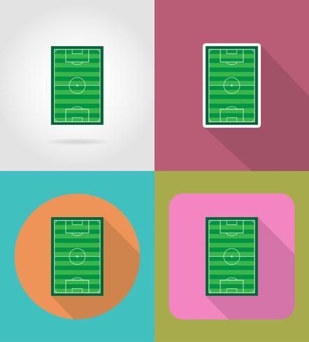 football soccer stadiun field flat icons vector illustration