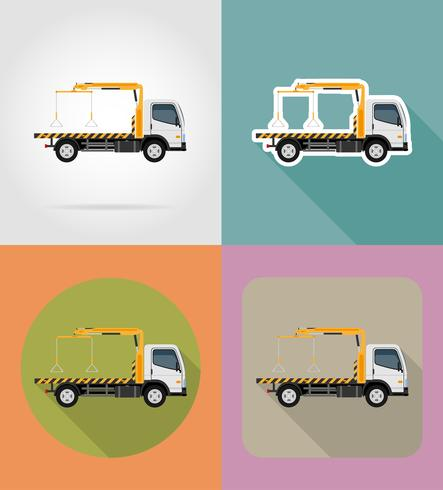 tow truck for transportation faults and emergency cars flat icons vector illustration