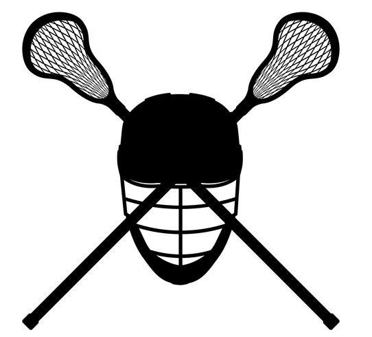 Ilustración de vector de silueta de contorno negro de equipo de lacrosse