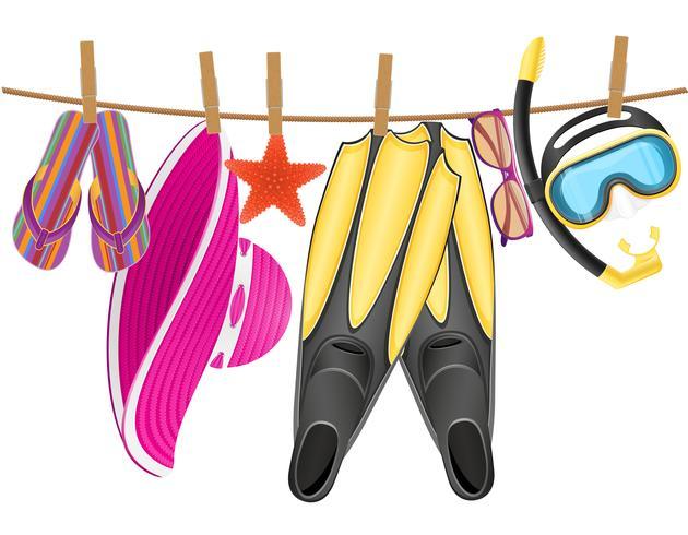 Accesorios de playa colgando de una cuerda con ilustración de vector de pinza para la ropa