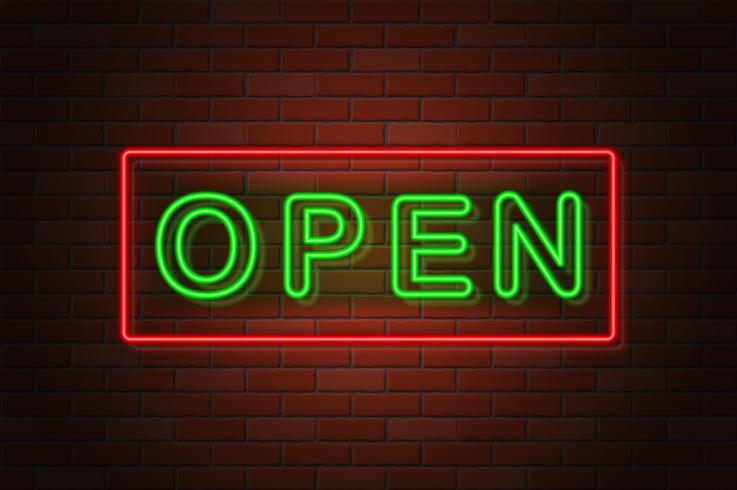 glowing neon signboard open vector illustration