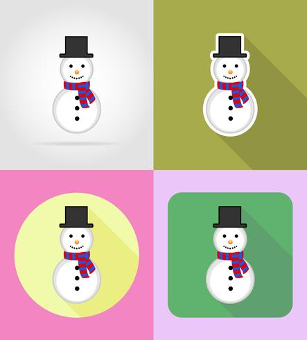 christmas and new year flat icons vector illustration