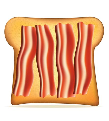 pain grillé avec illustration vectorielle bacon