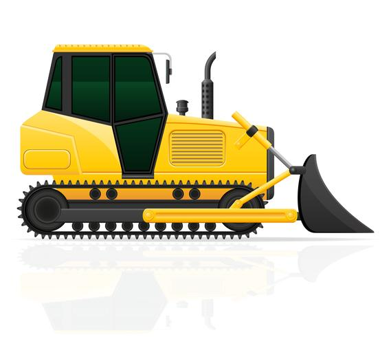 caterpillar tractor with bucket front seats vector illustration