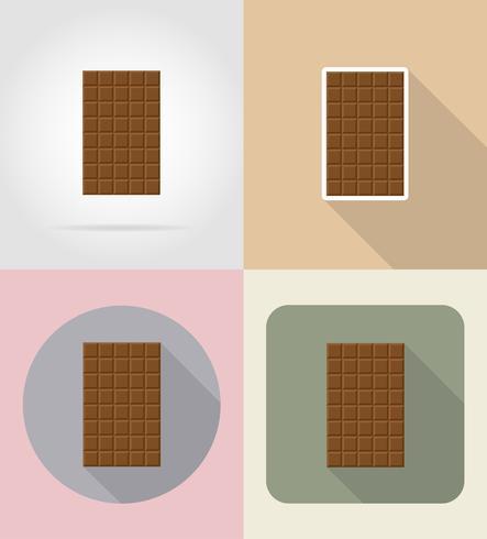 icone piatte di cioccolato barra illustrazione vettoriale