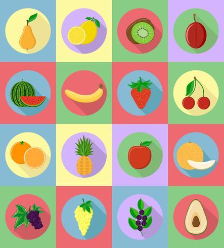 Frutas planas iconos con la ilustración de vector de sombra