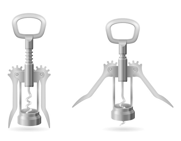 metal corkscrew for opening a cork in a wine bottle vector illustration