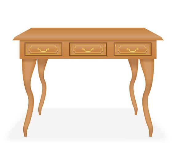 ilustração em vetor móveis mesa de madeira