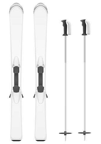 white skis mountain vector illustration