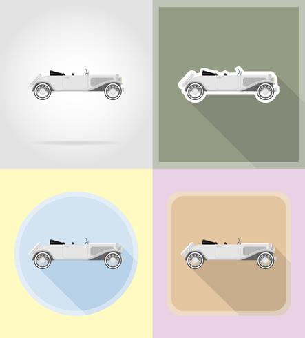 viejo coche retro iconos planos vector illustration