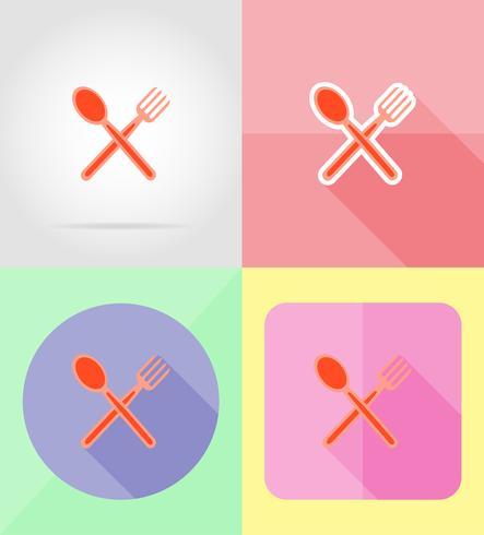 vork en lepel service plat pictogrammen vector illustratie