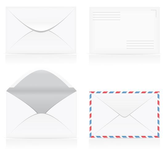 conjunto de sobres blancos en blanco ilustración vectorial