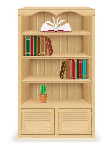 meubles de bibliothèque en illustration vectorielle de bois vecteur