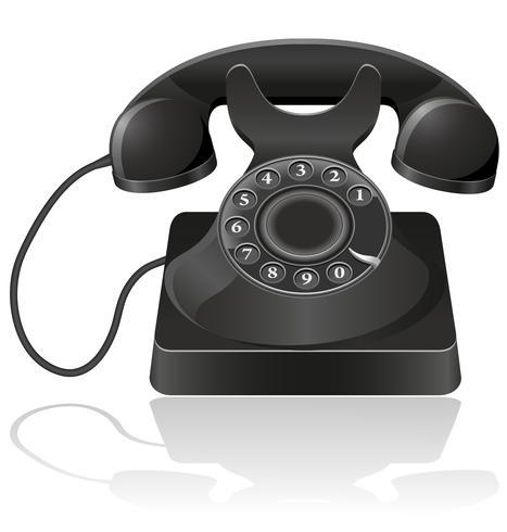 vieja ilustración vectorial de teléfono
