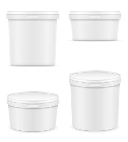 white plastic container for ice cream or dessert vector illustration