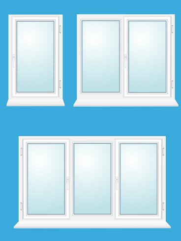 closed plastic glass window vector illustration