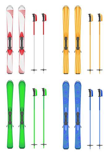 set d'icônes skis illustration vectorielle de montagne vecteur