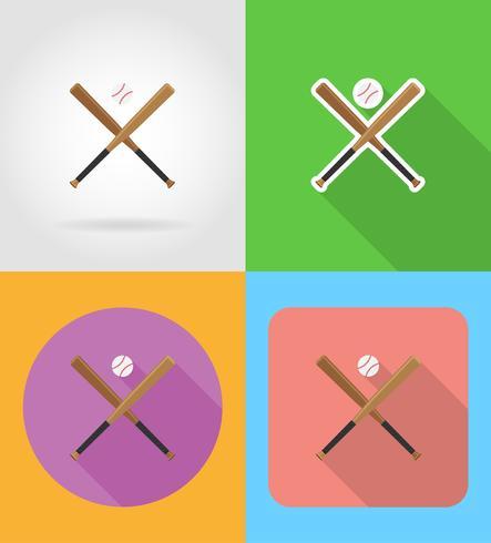 baseball ball and bit flat icons vector illustration