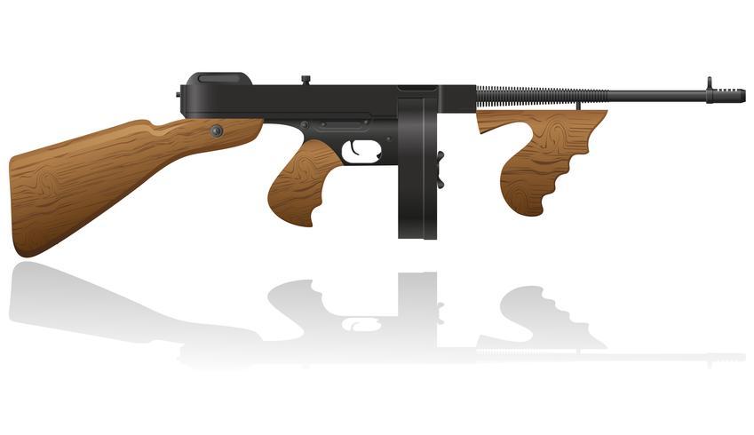 illustration vectorielle de gangster gun Thompson
